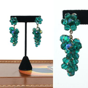 vintage 1950s 60s faceted emerald green crystal earrings • glass beaded statement costume earrings by LivingThreadsVintage