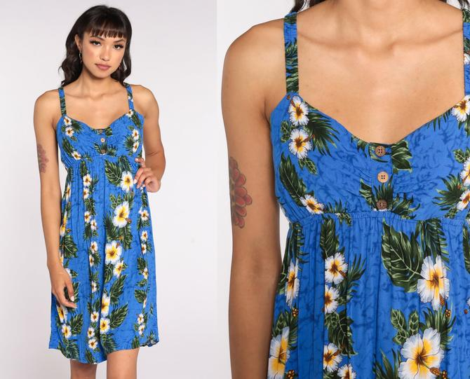 90s Hawaiian Babydoll Dress Mini Floral Summer Sundress EMPIRE Waist 1990s Vintage Boho Sleeveless Sun Blue Minidress Small Medium xs by ShopExile