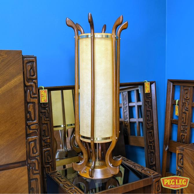 Mid-Century Modern walnut table lamp with brass details in the style of Adrian Pearsall
