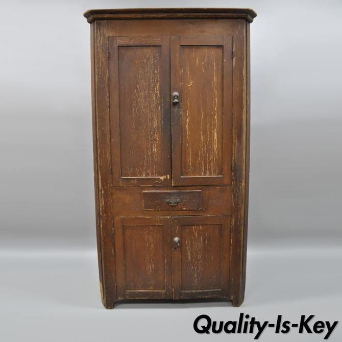 Antique Primitive Rustic Brown Distressed Painted Corner Cupboard Cabinet  77
