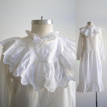 Vintage White Dress / Vintage Victorian Inspired Dress / Vintage White Prairie Dress / White Prairie Dress Medium / Plus Sized Vintage Dress by milkandice