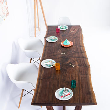 """Walnut Live Edge Slab Dining Table, Conference Table """"The Prima"""" by moderncre8ve"""