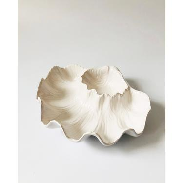 Vintage Shell Shaped Pottery Chip and Dip Tray / Portugal by SergeantSailor