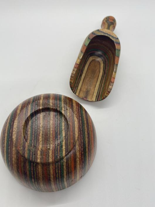 Artisan rainbow marbled wood bowl and scoop