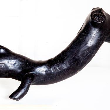 Charred Crocodile Wabi Sabi Black Wood Shou Sugi Ban Sculpture by ReduxIndustry