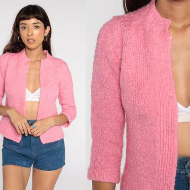 Pink Wool Cardigan Sweater 60s Cardigan Plain Wool Blend Open Front Slouchy 70s Sweater Vintage Retro Small by ShopExile