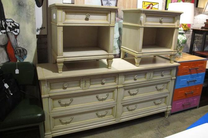 Faux french provincial dresser and night stands. $450 and $110/each.