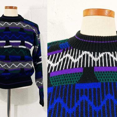 True Vintage Black Sweater 80s 1980s Long Sleeves Crew Neck Knit Geometric Design Tribal Ski Wild Thunder Purple Blue Small Medium Large by CheckEngineVintage