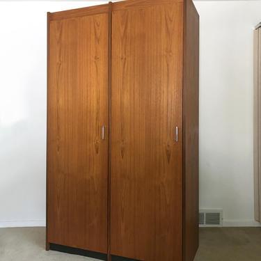 Danish modern teak wardrobe armoire dresser closet mid century by TripodModern