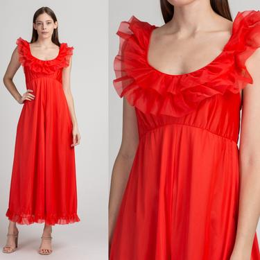 60s 70s Boho Red Ruffle Trim Jumpsuit - Extra Small | Vintage Sleeveless Wide Leg One Piece Pantsuit by FlyingAppleVintage