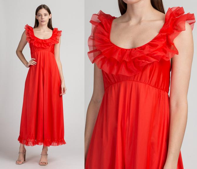 60s 70s Boho Red Ruffle Trim Jumpsuit - Extra Small   Vintage Sleeveless Wide Leg One Piece Pantsuit by FlyingAppleVintage