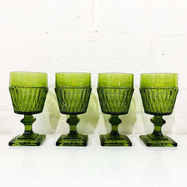 Vintage Mount Vernon Green Water Glasses Square Base Goblet Set of Four Indiana Glass Olive Green Avocado 1960s 60s Wine Christmas by CheckEngineVintage