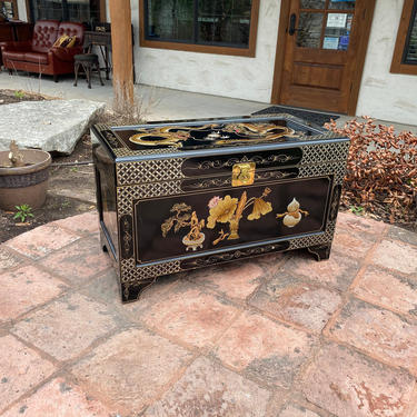 Outstanding Mid-Century Inlaid & Hand Painted Black Lacquered Oriental Chest / Trunk with Chinese Dragons, Florals, and Geometric Accents by PrimaForme