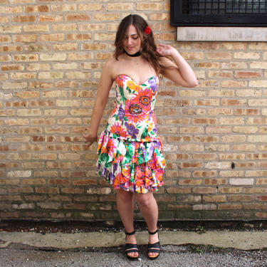 Vintage A.J. Bari 80s Silk Floral Party Dress - Strapless Multi-Color Dress Ruffle Skirt - XS/S by SecondShiftVintage
