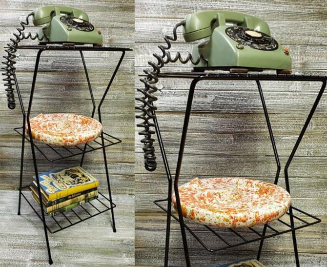 Vintage Telephone Table Plant Stand Mid Century Modern 3 Tier End Atomic Ranch Phone Furniture By