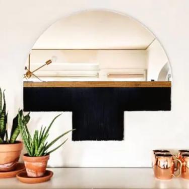 "Half-Circle Fringe Mirror: ""Aria-Duet"" (Medium) WITH Wood Accent Bar-Boho Mirror, Half-Moon Mirror, Macrame Mirror, Modern Mirror by shopcandiceluter"