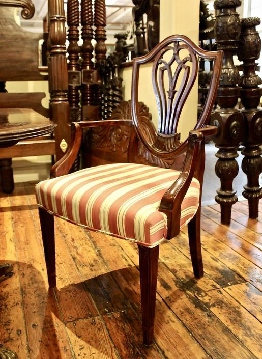 Set of 10 Hepplewhite Dining Chairs, Early 19th Century
