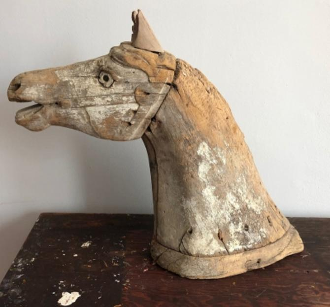 Circa 1900 Carved Wooden Carousel Horse Head Old CircusCarnival