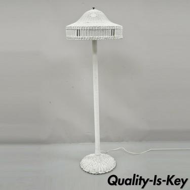 Antique Victorian White Wicker Column Pole Floor Lamp with Original Shade