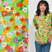70s Floral Blouse Pom Pom Shirt Boho Top Green Bohemian Short Sleeve Tunic Summer Print 1970s Vintage Boho Hippie Small Medium by ShopExile