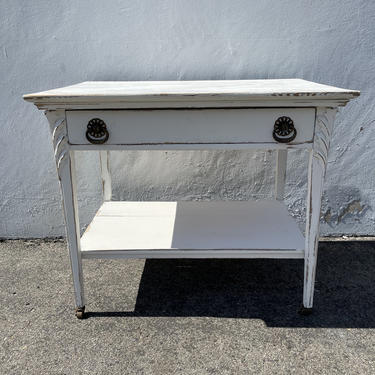 Antique Wood Desk Shabby Chic Traditional  Queen Anne Writing Regency White Vanity Shabby Chic Makeup Table Laptop Stand CUSTOM PAINT AVAIL by DejaVuDecors