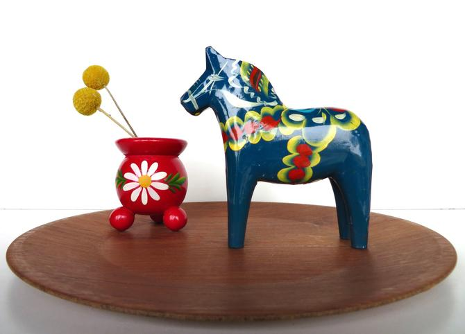 """Vintage Blue 5"""" Dala Horse, Nils Olsson Hand painted Wooden Horse From Sweden by HerVintageCrush"""