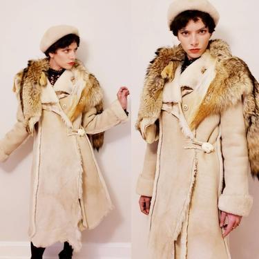 Vintage Winter Coat Shearling Suede Fur Avant Garde Asymmetrical /Handmade Coat Cream Beige Gray Brown Boho Crazy Horse Wild Hides / Kaja by RareJuleVintage
