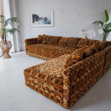 Vintage Sectional Velvet Flocked Sofa