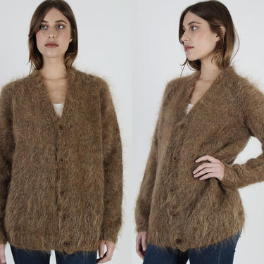 Kurt Cobain Style Sweater / Fuzzy Mohair Brown Cardigan / Button Down Angora Knit / Vintage 60s Alternative Rock Jacket by americanarchive