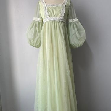 1970s Dress Chiffon Flocked Maxi Gown S by dejavintageboutique