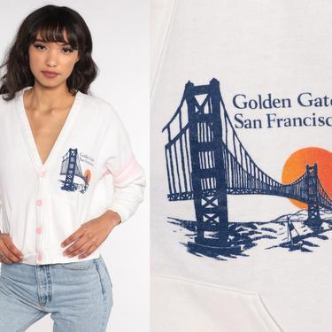 San Francisco Cardigan Sweatshirt 80s Golden Gate Bridge Sweatshirt White California Shirt Button Up Graphic Vintage 90s Small S by ShopExile