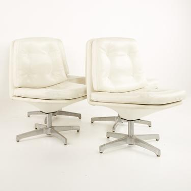 Chromcraft Style Mid Century White Vinyl and Aluminum Tufted Swivel Dining Chairs  - Set of 4 - mcm by ModernHill