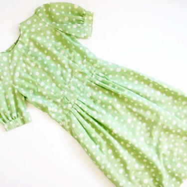 Vintage 70s Green Polka Dot Dress XS S - 1970s Pistachio Green Puff Sleeve Party Dress - Kawaii Sundress by MILKTEETHS