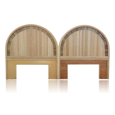 Pair of Split Bamboo and Pencil Reed Rattan Twin Headboards Crespi Style by VeronaVintageHome