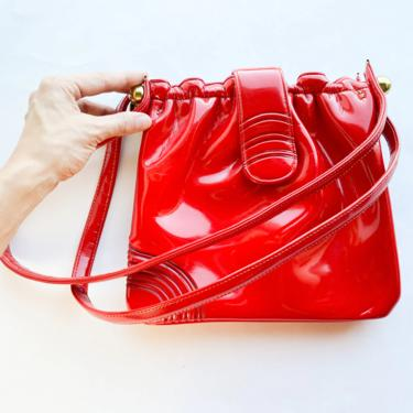 1960s Red Patent Leather Handbag   60s Red Patent Purse by GlennasVintageShop
