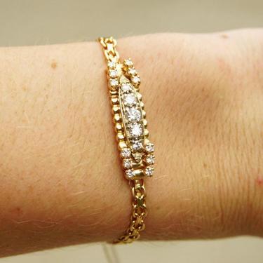"Vintage Italian 14K Gold Diamond Bracelet, Yellow Gold Chain, 1.375 TWC, Round Cut Diamonds, Security Chain, 6"" Long by shopGoodsVintage"