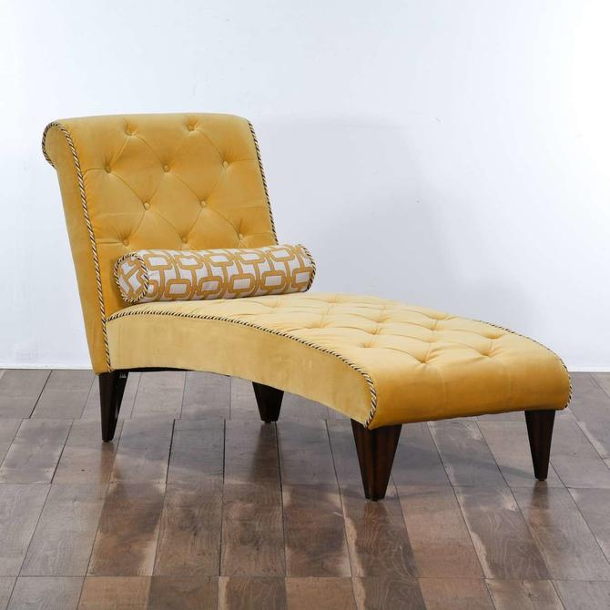 Yellow Velour Tufted Chair Lounge W/ Pillow
