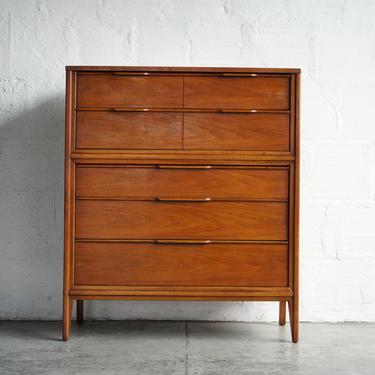 Mid-Century Walnut Highboy Dresser by Kent Coffey