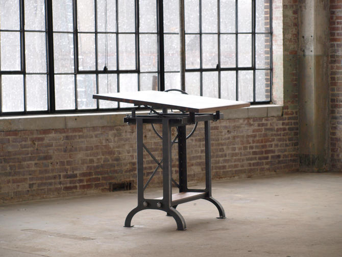 Stand Up Industrial Drafting table desk by CamposIronWorks