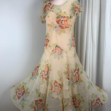 1920's Sheer Silk Georgette Dress - Soft Floral - Gatsby Garden Dress - Flouncy Tulip Shaped Skirt - Size Medium by GabrielasVintage