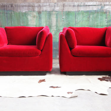 FABULOUS KNOLL Mid Century Modern Post Modern Pair of Lounge Chairs  produced by METROPOLITAN of San Francisco in Stunning deep Red McM by CatchMyDriftVintage