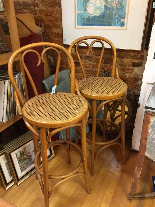 Pair Vintage Thonet bentwood and cane chairs bars tools - Pickup Only and Delivery to Selected Cities - by UrbanInteriorsBalt