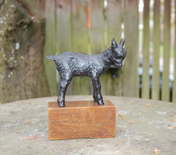 "Jakob Fehrel - J. W. Fehrel (1884-1974) Scarce 1931 Cast Iron Sculpture ""Zickkin"" The Kid Goat on Oak Base ~ Cast at Schwäbische Hüttenwerke by YesterdayAndTomorrow"