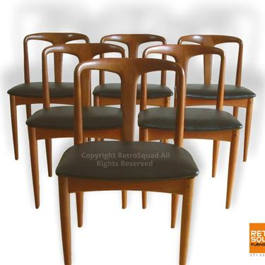 """6 """"Juliane"""" Dining Chairs by Johannes Andersen for Uldum with Sculpted Teak Frame Text / Call Offers 571 330 0810 by RetroSquad"""