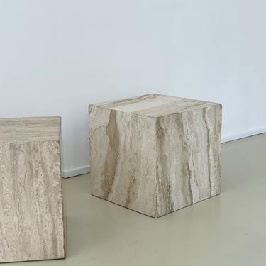 1970s Italian Travertine Cube Side Table