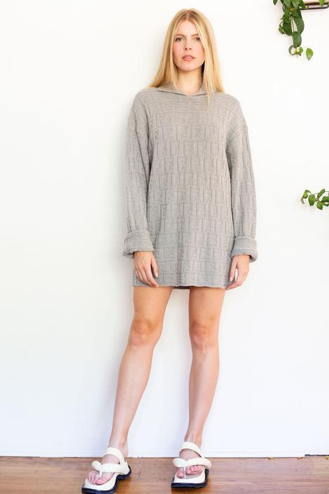 Vintage FENDI Zucca Uomo 1990s Collared Virgin Wool Sweater in Gray Sweaterdress Oversized Sloucy FF Monogram Logo Unisex by backroomclothing
