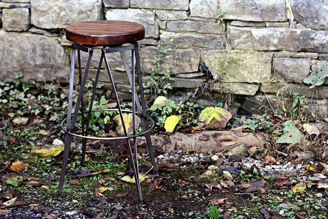 FREE SHIPPING - Vintage Style Ice Cream Parlour Swivel Bar Stools, Counter Stools by StrongOaksWoodshop
