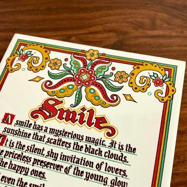 Vintage Berggren Decorative Kitchen Tile or Trivet, Wall Decor Art - Smile poem, Yellow Red Green, Hot Pad, Mid Century Scandinavian Modern by VenerablePastiche