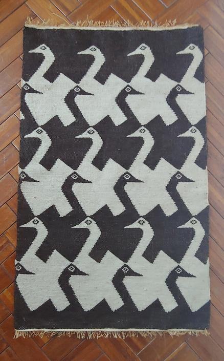 Vintage Handwoven Wool Tapestry Wall Hanging MC Escher Style Geese Pattern by ModandOzzie