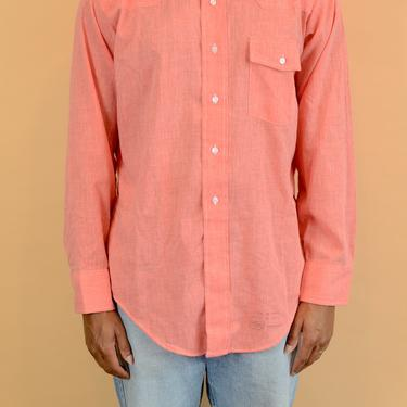 Vintage 70s Arrow Salmon Button Down Western Chambray Workwear Shirt by MAWSUPPLY